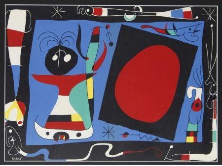 Литография Miró - Femme au miroir / Woman Before a Mirror