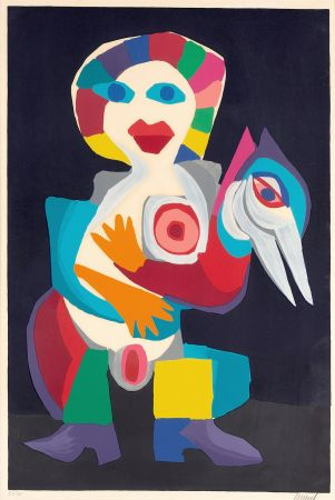 Литография Appel - Femme avec Oiseau