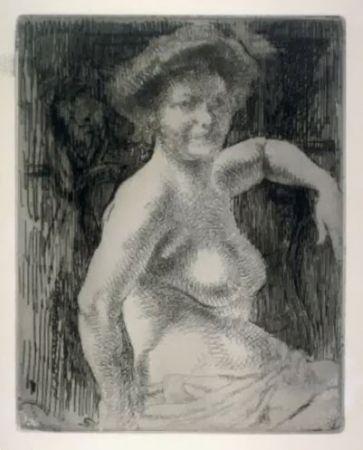 Гравюра Besnard - Femme blonde à sa toilette