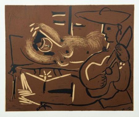 Гравюра Picasso - Femme couchée et guitariste