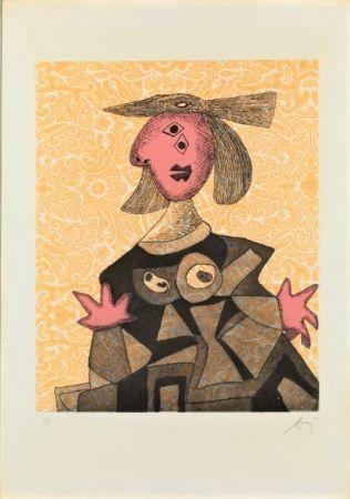 Офорт И Аквитанта Baj - Femme d'après Picasso