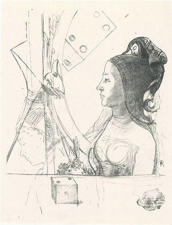 Литография Redon - Femme de profil, coiffée d'un hénin
