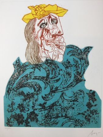 Офорт Baj - Femme en pleurs