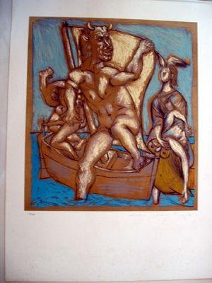 Литография Picasso - Femme Et Minotaur