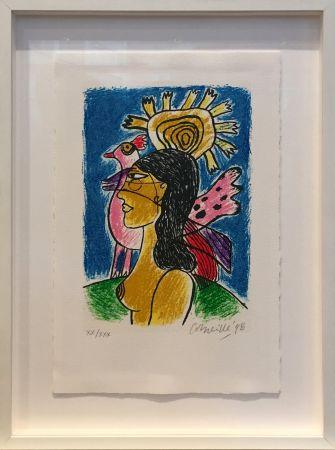Сериграфия Corneille - Femme et oiseaux