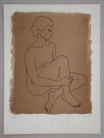 Литография Vacossin - Femme nue assise