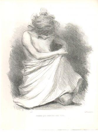 Литография Boutet - Femme qui cherche une puce / Woman Looking for a Flea