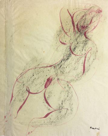 Монотип Fautrier - Femme se caressant. Dessin original au pinceau (1942)