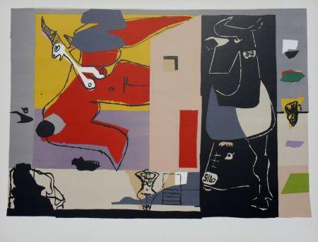 Литография Le Corbusier - Femme Unicorne et Taureau Noir