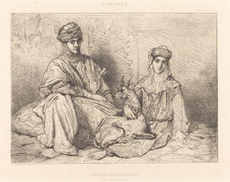 Гравюра Chassériau - Femmes mauresques (de Constantine)