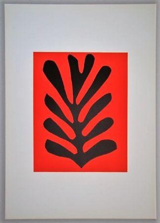Литография Matisse - Feuille sur fond rouge