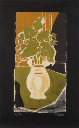 Литография Braque - Feuilles Couleur Lumière