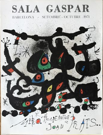"Литография Miró - Ffiche pour l' exposition ""Homenatge a Joan Prats"". Sala Gaspar, Barcelona."