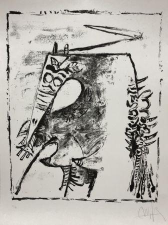 Литография Lam - Figure blanche et noire