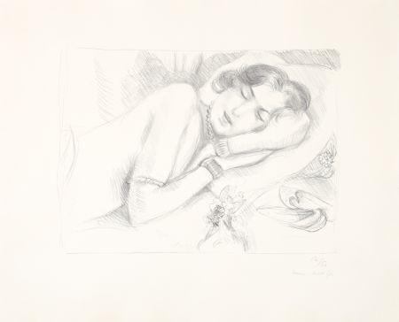 Литография Matisse - Figure endormie aux babouches