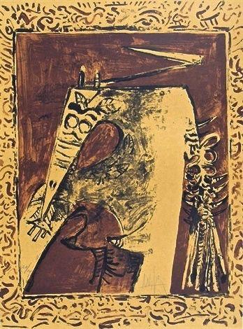 Литография Lam - Figure ocre