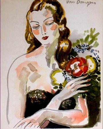 Литография Van Dongen - Fille au Fleurs
