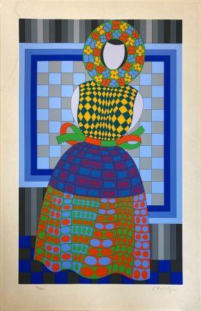 Сериграфия Vasarely - Fille Fleur