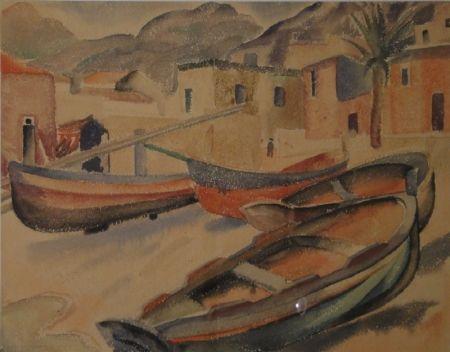 Монотип Fleischmann - (Fischerboote am Strand eines Ortes am Mittelmeer)