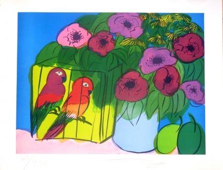 Литография Ting - Fleurs et perroquets