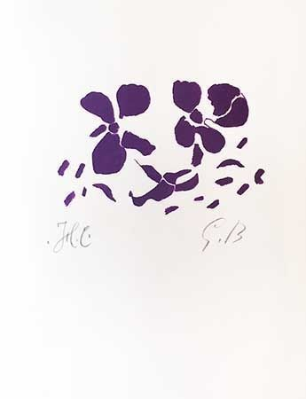 Гравюра На Дереве Braque - Fleurs violettes