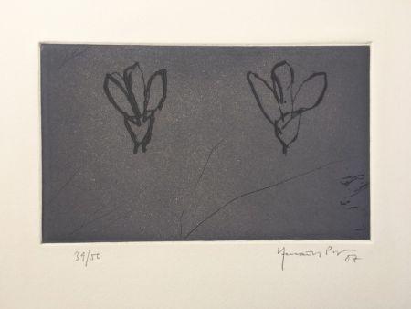 Гравюра Hernandez Pijuan - Flores sobre gris