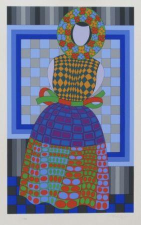Многоэкземплярное Произведение Vasarely - Flower Girl