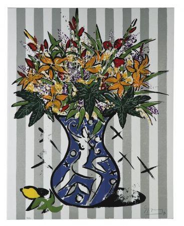 Сериграфия Szczesny - Flowers on Stripes