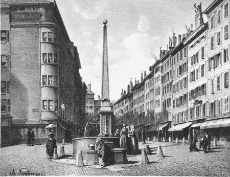 Литография Fontanesi - Fontaine et rue de Coutance
