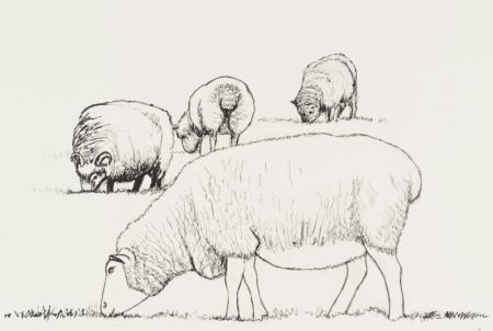 Литография Moore - Four Sheep Grazing