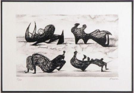 Литография Moore - Four silhouette figures