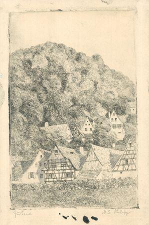 Гравюра Philipp - Fränk.  Dorf Eggloffstein