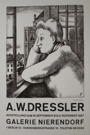Литография Dressler - Frau am Fenster
