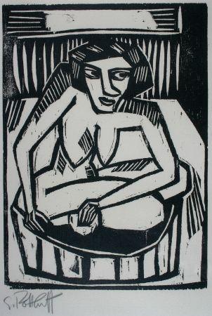 Гравюра На Дереве Schmidt-Rottluff - Frau In Der Wanne (Woman In Bath)