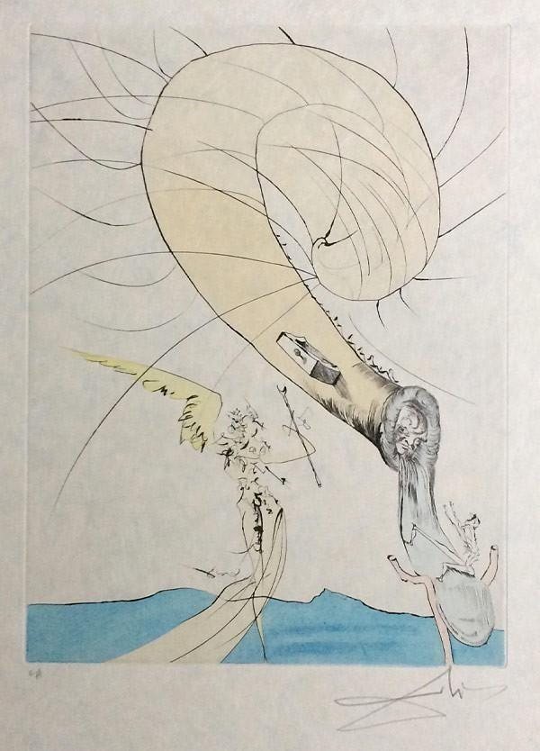 Гравюра Dali - Freud with Snail Head