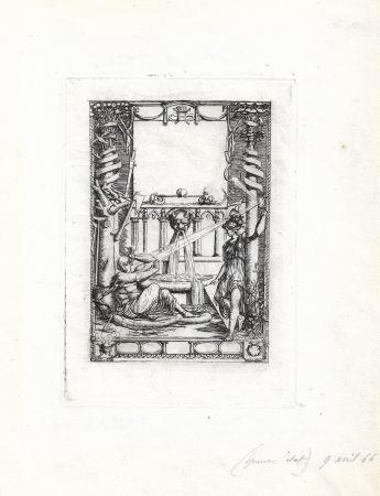 Гравюра Meryon - Frontispice pour le catalogue de l'oeuvre de Thomas de Leu