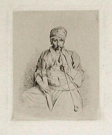 Гравюра Gérôme - Fumeur égyptien au turban