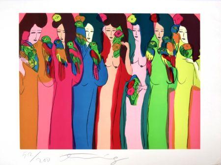 Сериграфия Ting - Geishas aux perroquets
