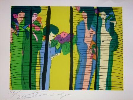 Литография Ting - Geishas et fleurs