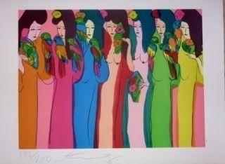 Литография Ting - Geishas et perroquets