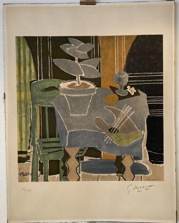 Литография Braque - Georges Braque (1882-1963) Nature morte à la palette, 1960.