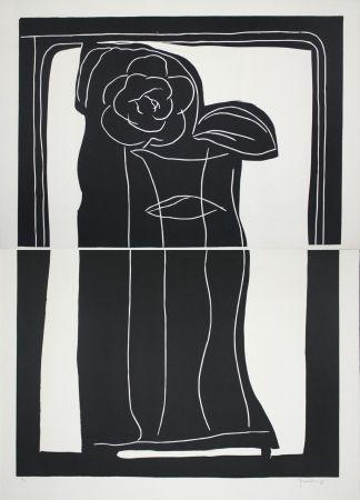 Линогравюра Hernandez Pijuan - Gerro amb flors / Vase with Flowers