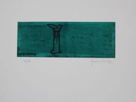 Акватинта Hernandez Pijuan - Gerro i flor sobre verd / Vase and Flower on Green
