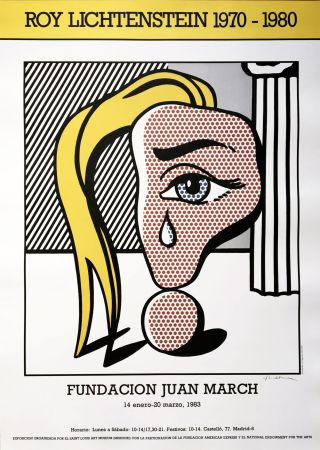 Нет Никаких Технических Lichtenstein - 'Girl with Tear III' Hand Signed Pop Art Poster Print