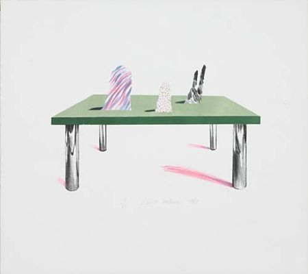 Литография Hockney - Glass Table with Objects