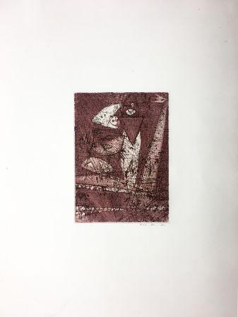 Офорт И Аквитанта Ernst - Gravure pour : MORT AUX VACHES ET AU CHAMP D'HONNEUR (1950). Tirage à part.