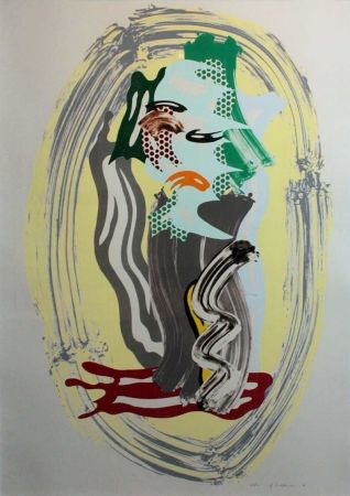 Литография Lichtenstein - Green Face, from Brushstroke Figures