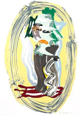 Литография Lichtenstein - Green Face, from Brushstroke Figures Series
