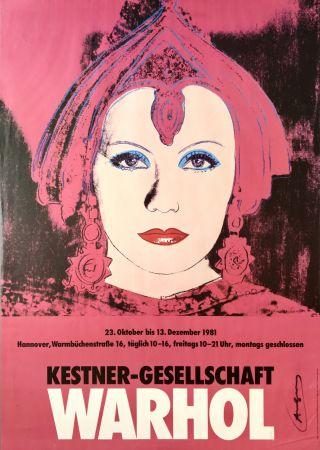 Литография Warhol - Greta Garbo Hand Signed Exhibition Poster 1981