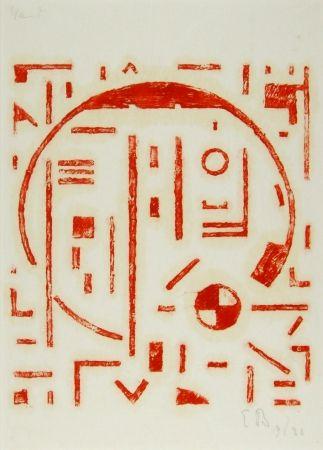 Гравюра На Дереве Buchholz - Großer Kreis mit kleinem Kreis rot (Big cercle with small cercle red)